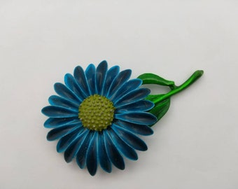 Blue Daisy  enamel flower brooch Summer fun