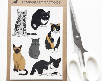 Cat temporary tattoos - kitty illustrated body art - realistic fake tattoos - cat lover gift