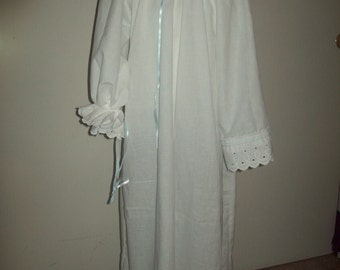 Adjustable neckline 100% cotton white muslin chemise with eyelet cuffs girl's you choose size made to order