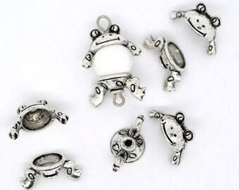 BRELOQUES GRENOUILLES SUPPORTS lot de 4 sets 1.5 cm grenouilles argentées pour perles