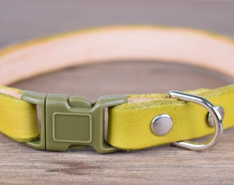 Purrfect Leather Cat Collar - Moss Green - Breakaway Safety Leather Cat Collar