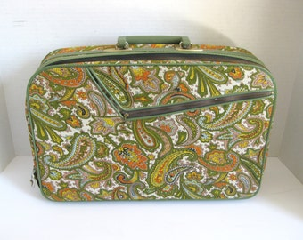 Vintage Retro Over Night Bag Travel Bag Luggage Paisley Print Made In Japan