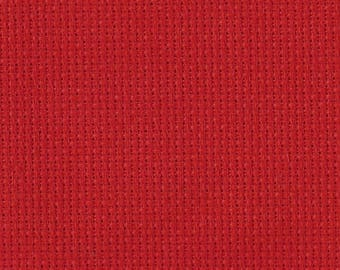 """Permin of Copenhagen - Country Cotton - 16 Count Aida - Christmas Red - 12"""" x 13"""""""