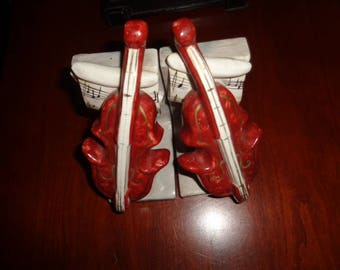 Charming Vintage ceramic Violin Bookends