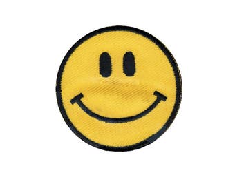 Happy Face Iron On Applique, Happy Face Iron On Patch, Smiley Face Patch, Emoji Applique, Fun Patch, Emoji Patch, Embroidered Patch