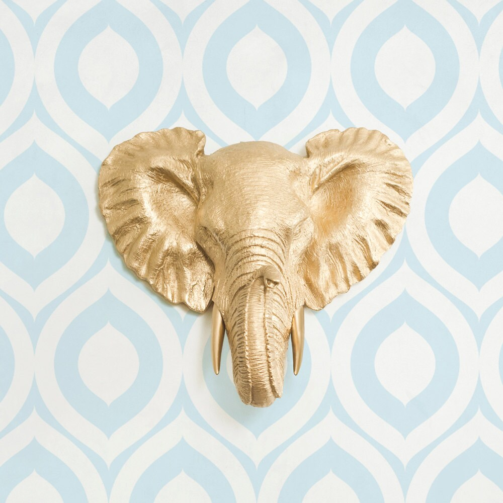Savannah Mini in Gold Faux Elephant Head by Wall Charmers™