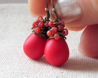 Poppy Red Glass Earrings, Crimson Red Glass Earrings, Confetti, Lipstick Red, Czech Glass, Wire Wrapped, Antiqued Brass, Christmas Earrings