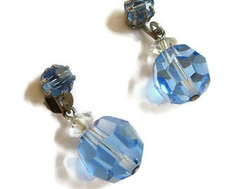 Blue and Clear Glass Crystal Dangle Drop Earrings Vintage