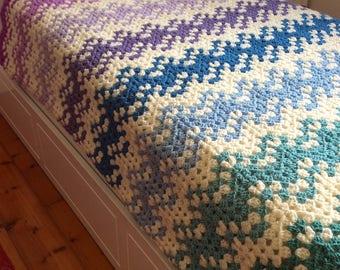READY TO SHIP - Crochet blanket, blanket, throw blanket, crochet afghan, striped blanket, pink blanket, chevron blanket, crochet throw