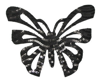 Black Sequin Butterfly Iron On Transfer Applique