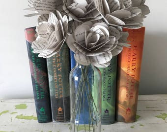 """Harry Potter Book Roses, Paperback Book, 3"""", Varying Quantity, Book Page Paper Roses"""