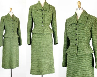 Vintage 1940s suit . The Esmeralda . pine green 40s / 50s boucle wool suit . 1940s green skirt suit .
