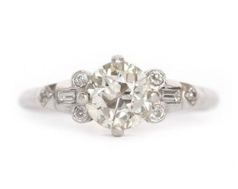 Circa 1910 Edwardian Platinum 1.04ct Old European Brilliant Cut Diamond Engagement Ring - VEG#882