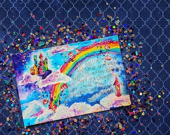Psalm 18:2 rainbow cloud castle high tower postcard Christian Journaling Cards 4x6 Watercolor mixed media Print Growing Meadows Tai Bender