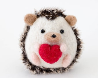 Needle Felted Hedgehog with Red Heart Valentine's Day Gift