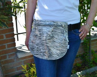 Leather waist bag,Belt bag,hip leather bag,fanny pack leather,zebra bag,hip belt bag,rider bag,leather fanny,zipper waist,animal print bag