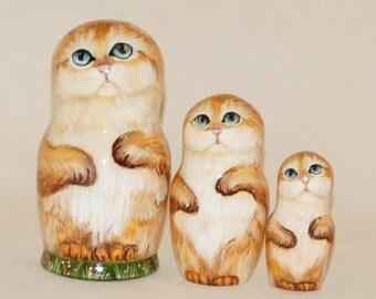 "4.7"" Beautiful Nesting dolls Matryoshka Hand painted in details Cats 12-02"