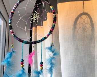 Multi coloured dream catcher with bright faux feathers and tiny beads