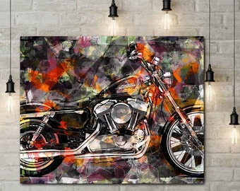 Motorcycle Art, Motorcycle Artwork, Mortorcycle Wall Art, Biker Gift, Biker Art, Garage Art, Mixed Media Wall, Motorcycle Gifts, Lets Ride