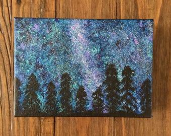 Galaxy Painting Northern Lights - Galaxy Art - Galaxy Artwork - Stars Blue Painting  - Aurora Borealis - Milky Way Art