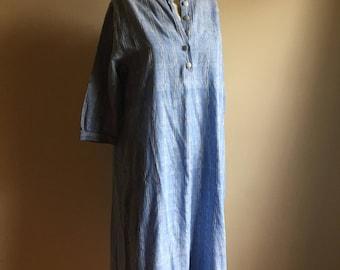 70s Chambray Blue Vintage Dress • Free Size Cotton Dress