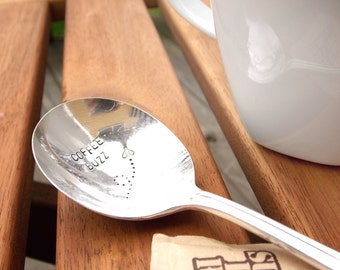 Coffee Buzz Spoon - Hand Stamped Vintage Silverware