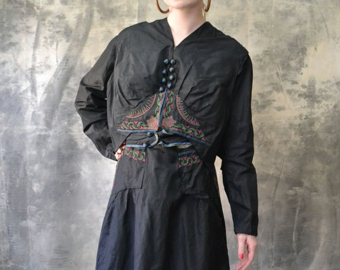 1800s Victorian Black Satin Embroidered Dress