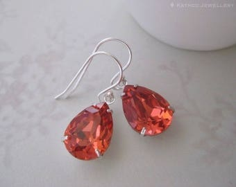 Mia - Padparadscha Crystal Teardrop Earrings -Created Crystals from Swarovski® Silver Dangles - Birthday Gift -Bridesmaid Gift