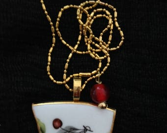 Unique, vintage, upcycled broken glass pendant made from Gainsborough (Enlish) plate