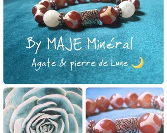 Agate & Moonstone 10 mm bracelet