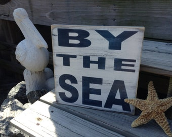 Nautical Sign By The Sea Coastal Beach Cottage and Baby Nursery Decor