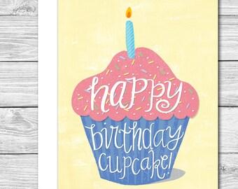 Happy Birthday Cupcake! hand drawn birthday card
