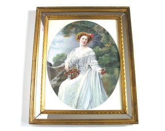 Mirror Frame with Antique 1900 Engraving - French Romantic Woman Portrait - French Theatre Actress - Shabby Chic Collection Home Decor