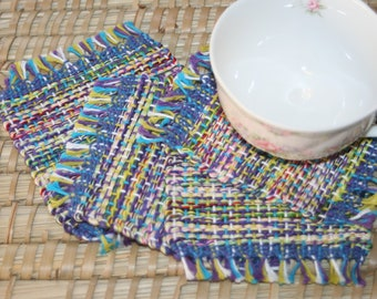 Colorful Coasters - Eco Friendly Mug Rugs - Handwoven Coasters with Lime Green Accents - Set of 4 Coasters with Fringe