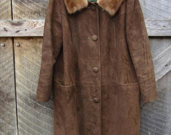 Woman's vintage suede coat with attached mink collar