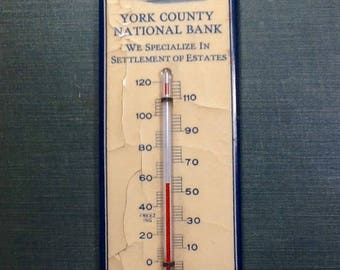 Vintage York county celluloid advertising thermometer