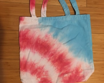 Small hand sewn and hand tie dyed tote bag