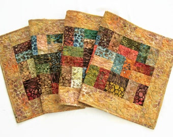 "Quilted Batik Table Runner - 17.25"" x 57.75"" - Autumn Earth Tones Table Quilt - Sticks and Stones Batiks - Fall Table Runner"