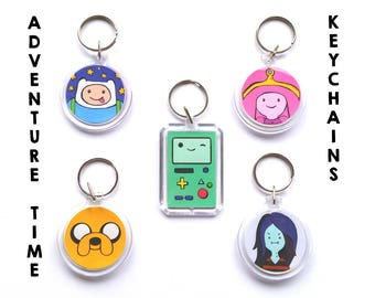 Adventure time key chain, BMO, Beemo, Jake, Finn, Marceline, Bubblegum, cartoon, vampire, keychain, charm, nerd, geek, keryring, key ring