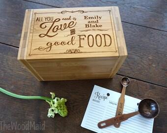 Recipe Box Bridal Shower Gift Hostess Gift Custom Recipes Storage Box for Gourmet Mom All You Need Good Food