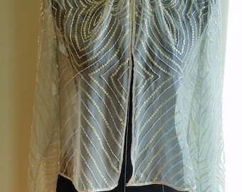 Vintage 1980s Sheer Jacket with Intricate Iridescent Beading and Sequins. Size 12/14