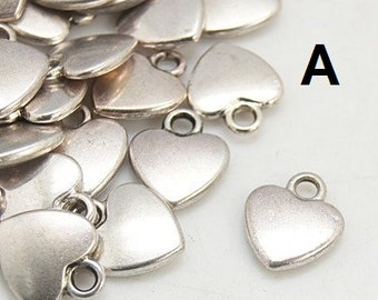 M* Tibetan Style Charms, Hearts in Silver (143-2018)