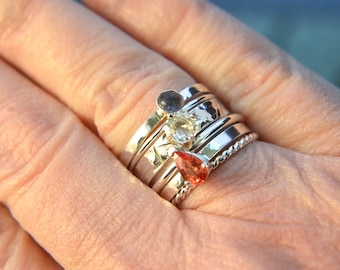 Stacked - Sapphire rings, six ring stacking set