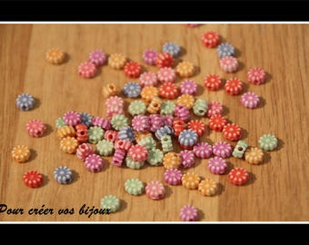 Set of 50 6mm acrylic flower beads