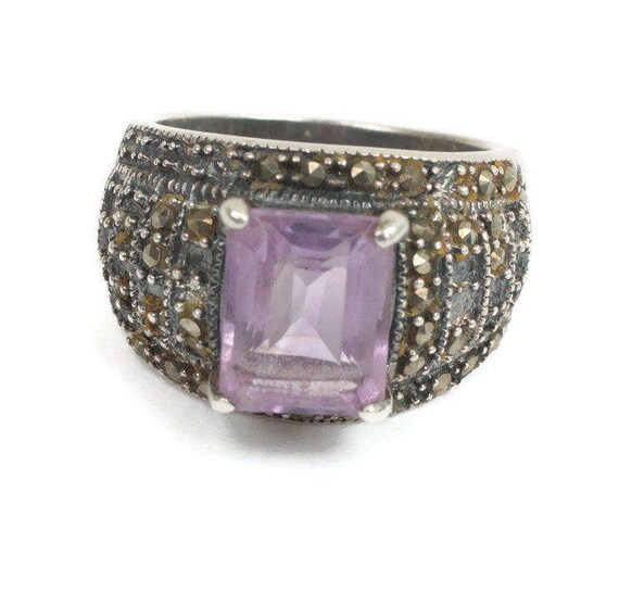 Amethyst Sterling and Marcasite Ring Size 6 3/4 Vintage TLC Repair