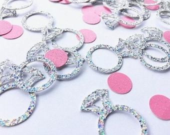 Princess Ring Confetti - Princess Party Supplies - Engagement Ring Confetti - Silver Ring Confetti - Wedding - Pink - Princess - Birthday