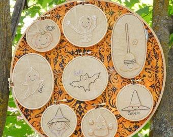 Halloween hoop embroidery Pattern PDF - stitchery 20 designs mini monsters candy corn prim