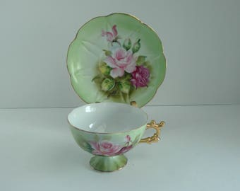 Decorative Cup and Saucer, Green with Pink Flowers, Numbered, Gold Accents, Vintage Floral China, Footed Cup