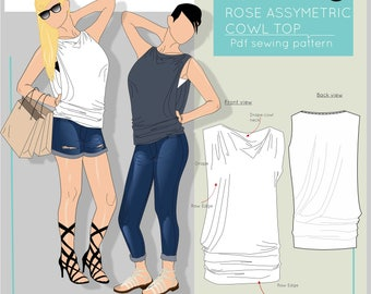 The Rose Assymetric Cowl Top