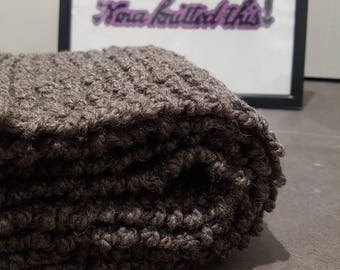 Grey/Brown Hand Knit, Chunky Scarf, Knitted Scarf, Wool Scarf, Christmas Gift